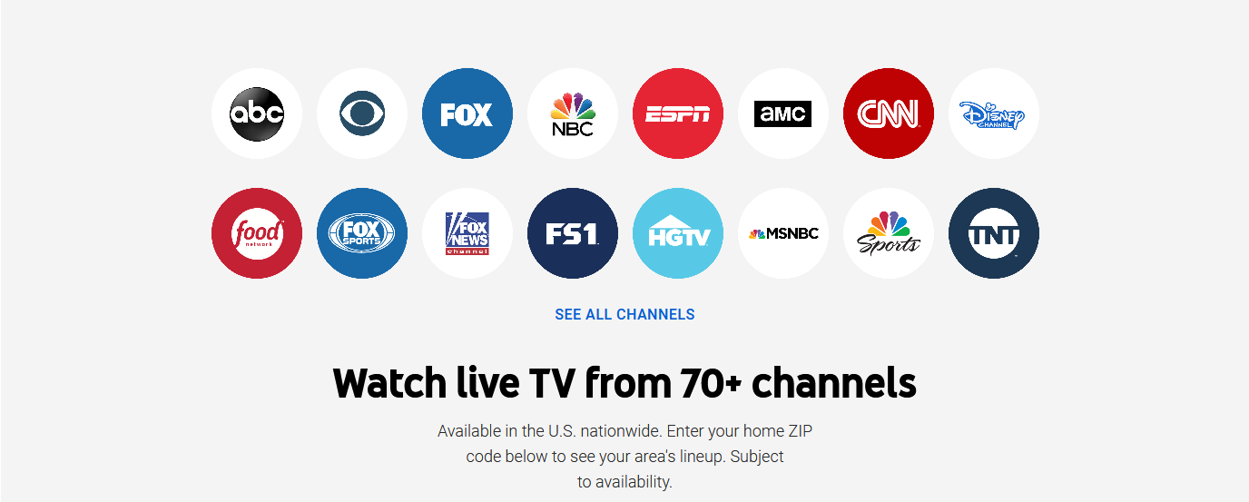 youtube tv's Channels